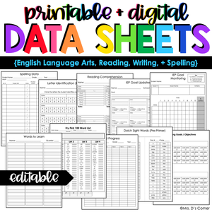 ELA, Reading, Writing + Spelling Data Forms | Editable Data Sheets