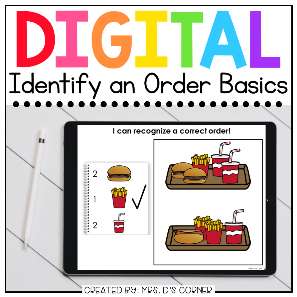 Identify the Correct Order Digital Basics for Special Ed | Distance Learning