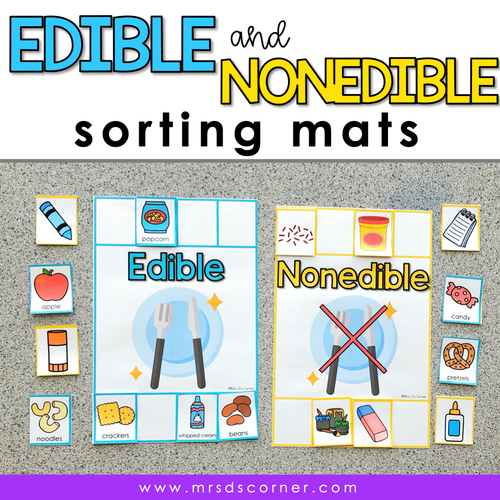 Edible and Nonedible Sorting Mats [2 mats included] | Edible Objects Activity