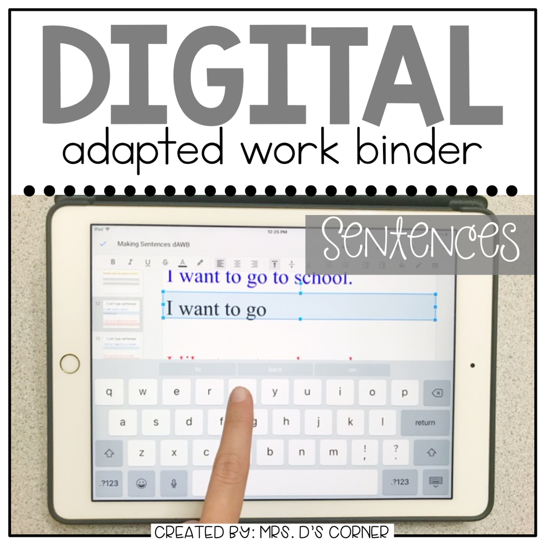 DIGITAL Adapted Work Binder ( Making Sentences )