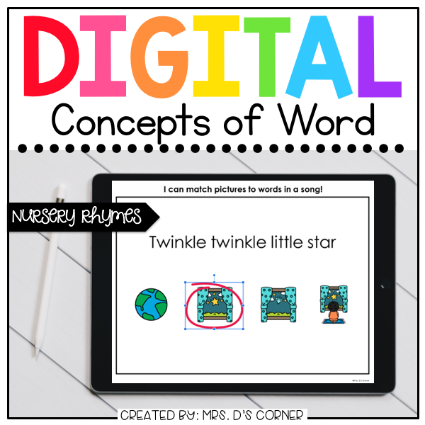 Nursery Rhymes Concepts of Print Digital Activities | Distance Learning