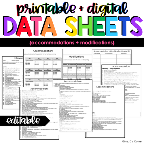 Accommodations + Modifications Data Forms | Editable Data Sheets