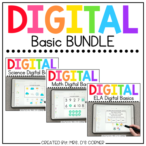 BUNDLE of Digital Basics for ELA, Math and Science | Distance Learning