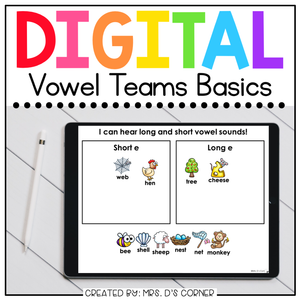 Vowel Teams Digital Basics for Special Ed | Distance Learning