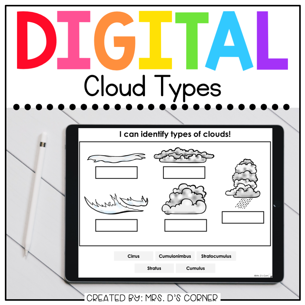 Cloud Types Digital Basics for Special Ed | Distance Learning | Types of Clouds