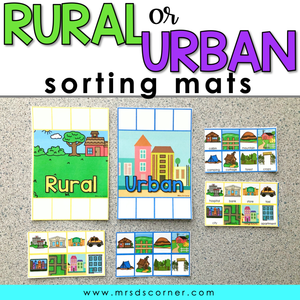 Rural and Urban Sorting Mats [2 mats included] | Rural and Urban Activity