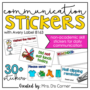 Communication Stickers | Non-Academic Stickers for Daily Parent Communication
