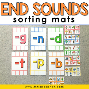 End Sounds Sorting Mats [6 mats included] | End Word Sound Activity
