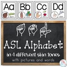 Load image into Gallery viewer, American Sign Language ASL Word Wall Alphabet and Alphabet Line [4 skin tones]