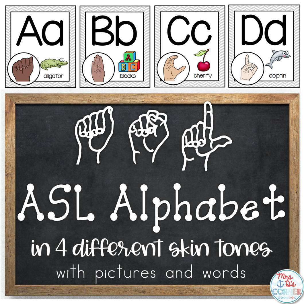 American Sign Language ASL Word Wall Alphabet and Alphabet Line [4 skin tones]