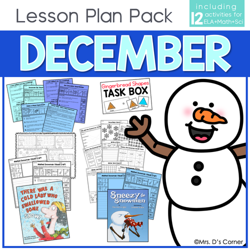 December Lesson Plan Pack | 12 Activities for Math, ELA, + Science