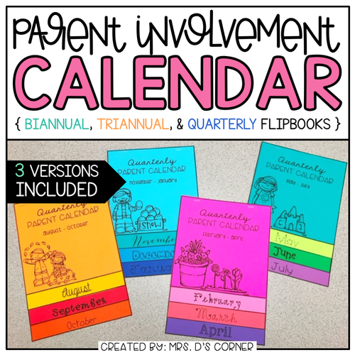 Editable Parent Calendar Flipbook [Quarterly, Biannual, and Triannual]