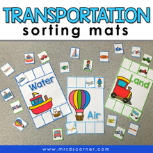 Load image into Gallery viewer, Transportation Sorting Mats [3 mats!] for Students with Special Needs
