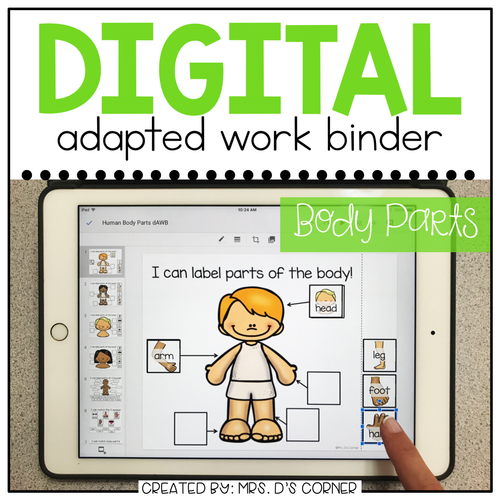 DIGITAL Adapted Work Binder ( Human Body Parts )