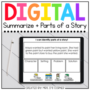 ID Parts of a Story + Summarize Digital Basics for Special Ed |Distance Learning