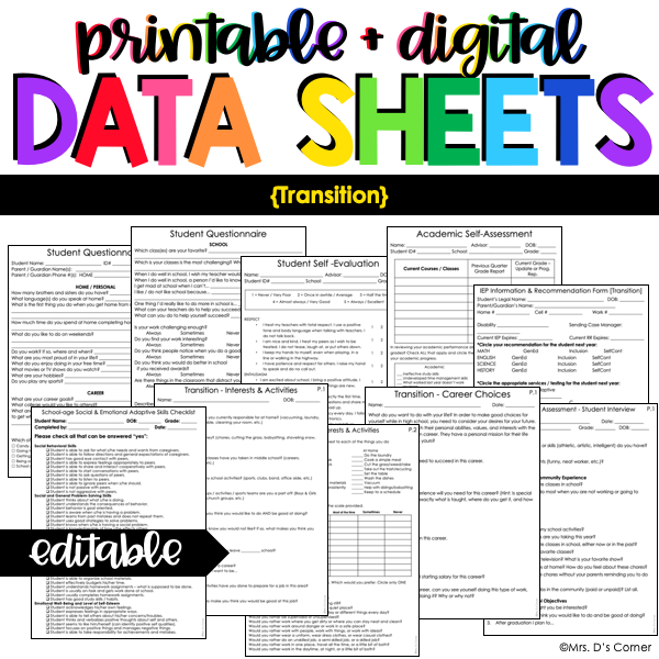 Transition Data Forms | Editable Data Sheets