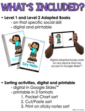 Load image into Gallery viewer, My School Day Social Skills Bundle | Adapted Books + Sorting Activities