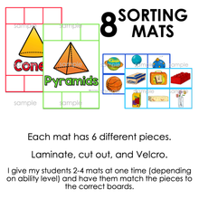Load image into Gallery viewer, Real World 3D Shapes Sorting Mats [8 mats included] | 3D Shapes Sorting Activity