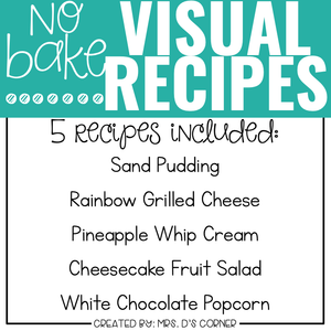 August Visual Recipes with REAL Pictures for Cooking in the Classroom