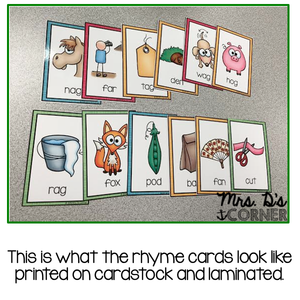 Word Family Rhyme Cards [Color and Black and White]