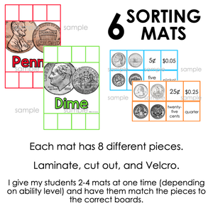 US Money Coins Sorting Mats [6 mats included] | Money Sorting Mats