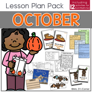 October Lesson Plan Pack | 12 Activities for Math, ELA, + Science