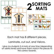Load image into Gallery viewer, Vertebrates and Invertebrates Activity Sorting Mats [2 mats included]