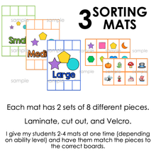 Load image into Gallery viewer, Size Comparison Sorting Mats [3 mats] | Small Medium Large Size Sorting Activity