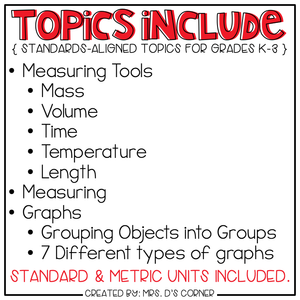Measurement and Graphing Adapted Work Binder®