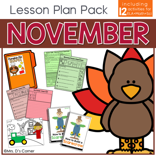 November Lesson Plan Pack | 12 Activities for Math, ELA, + Science