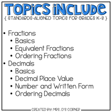Load image into Gallery viewer, Fractions and Decimals Adapted Work Binder®