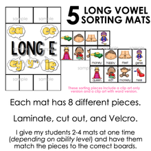Load image into Gallery viewer, Long Vowel Sorting Mats [5 mats!] for Students with Special Needs