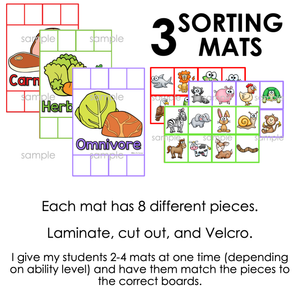 Carnivores, Herbivores, and Omnivores Sorting Mats [3 mats included]