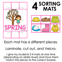 Load image into Gallery viewer, Seasonal Clothing Sorting Mats for Students with Special Needs