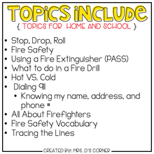 Load image into Gallery viewer, Fire Safety Adapted Work Binder® ( Topics for Home and School )