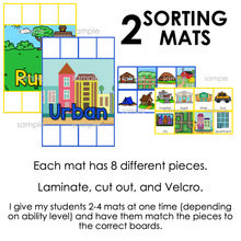 Load image into Gallery viewer, Rural and Urban Sorting Mats [2 mats included] | Rural and Urban Activity