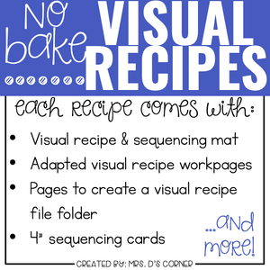 January Visual Recipes with REAL Pictures for Cooking in the Classroom