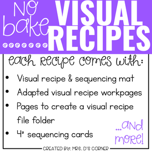 April Visual Recipes with REAL Pictures for Cooking in the Classroom