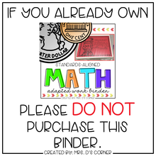 Load image into Gallery viewer, Basic Math Skills Adapted Work Binder® ( for Special Needs )