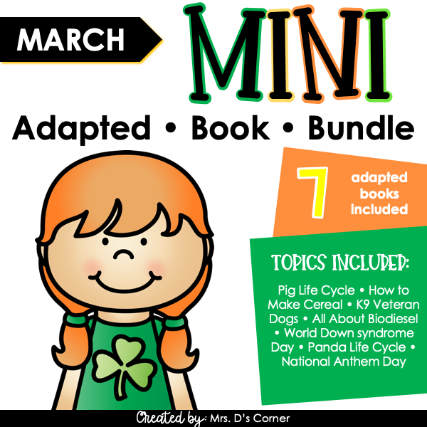 March Mini Adapted Book Bundle [7 books!] Digital + Printable Adapted Books