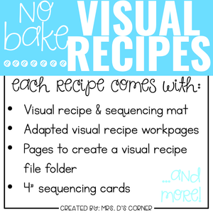 December Visual Recipes with REAL Pictures for Cooking in the Classroom