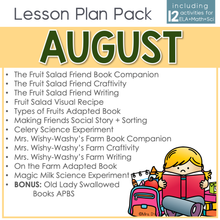Load image into Gallery viewer, August Lesson Plan Pack | 12 Activities for Math, ELA, + Science
