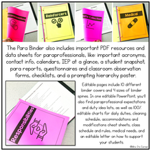 Load image into Gallery viewer, Para Binder for the Special Education Classroom | Paraprofessional Binder