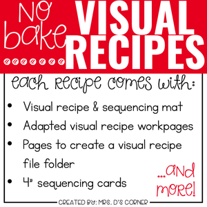 September Visual Recipes with REAL Pictures for Cooking in the Classroom