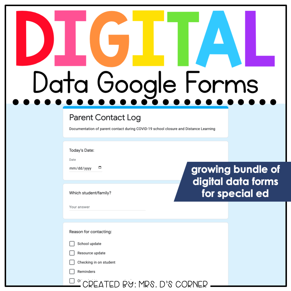 Digital Data Forms for Special Education | Digital Google Data Forms