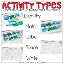 Load image into Gallery viewer, Science and Social Studies Adapted Work Binder® (for Special Needs)