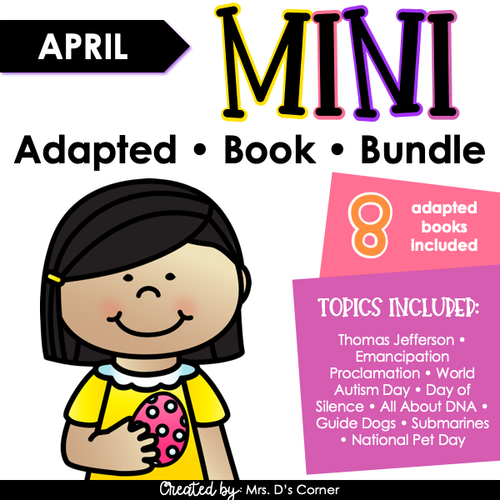 April Mini Adapted Book Bundle [8 books!] Digital + Printable Adapted Books