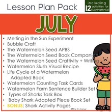 Load image into Gallery viewer, July Lesson Plan Pack | 12 Activities for Math, ELA, + Science