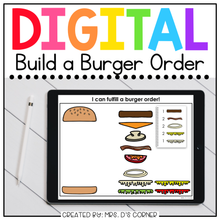 Load image into Gallery viewer, Digital Build a Burger Order | Activity for Special Ed + Distance Learning