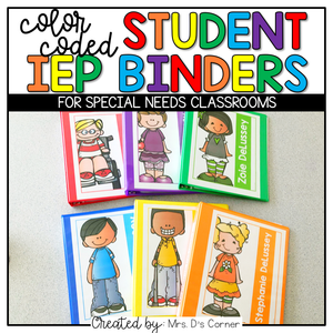 Editable Student IEP Binders { Color Coded } | Color Coded Classroom